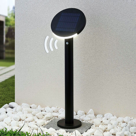 Lindby Cletus bolardo luminoso solar LED, sensor