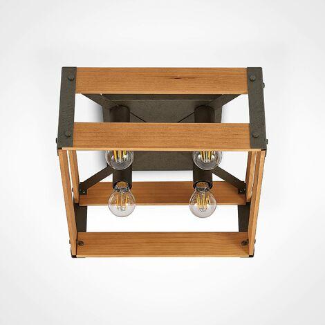 Lindby Gudula plafón de madera y hierro