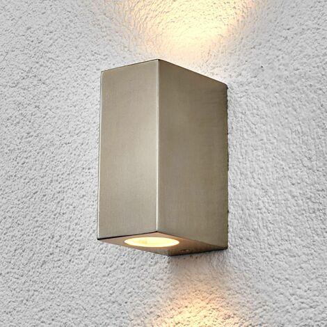 Lindby Haven Edelstahl-Außenwandlampe, 2-fl.,14 cm