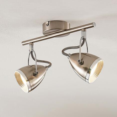 Lindby Jadon foco de techo LED, níquel, 2 luces