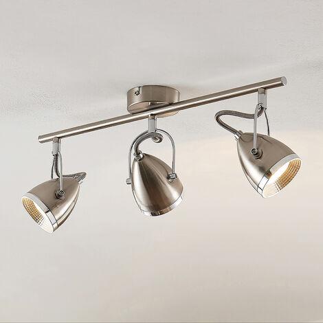 Lindby Jadon foco LED níquel 3 luces largo