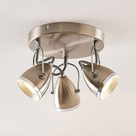 Lindby Jadon plafón LED níquel 3 luces 26,3 cm