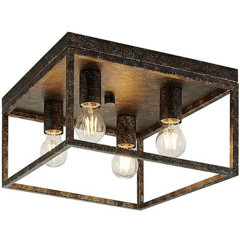"main image of ""Lindby Lejus lámpara de techo, 4 luces, óxido"""