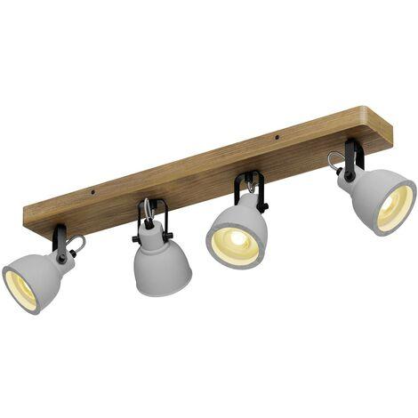 Lindby Mirka plafón LED, madera de pino, 4 luces