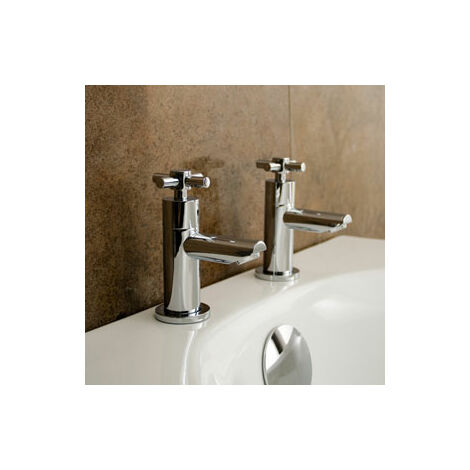 """main image of """"Linden Cross Head Hot & Cold Basin Taps & Waste Chrome"""""""