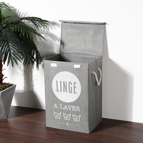 Line Fabric Laundry Basket Hamper Dirty Clothes Storage Box Organizer with Lids