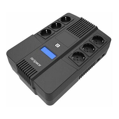 Line-Interactive UPS 600VA/360W avec 6 prises schuko et affichage LCD protection de surcharge