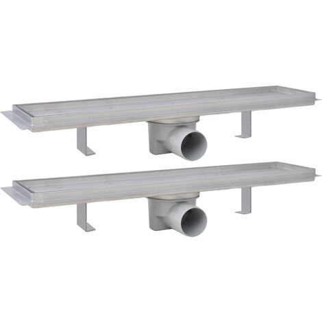 Linear Shower Drain 2 pcs 530x140 mm Stainless Steel