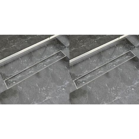Linear Shower Drain 2 pcs 830x140 mm Stainless Steel