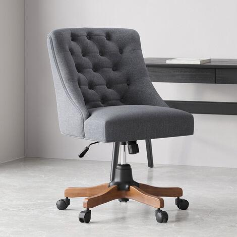 Linen Adjustable Swivel Office Chair Computer Desk Task Chairs