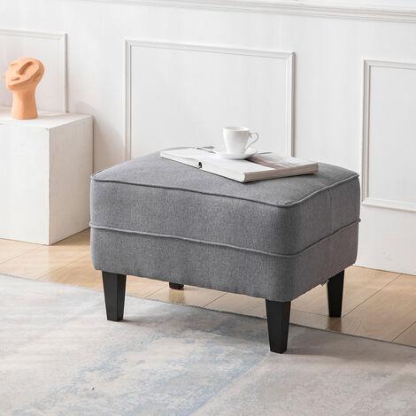 Linen Bedroom Large Soft Footstool