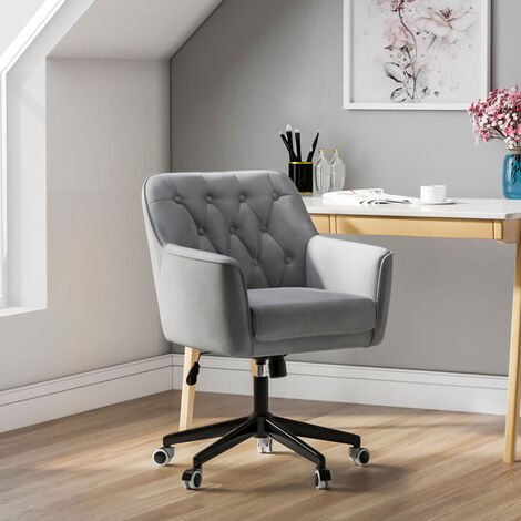 Linen Buttoned Adjustable Swivel Office Chair, Grey