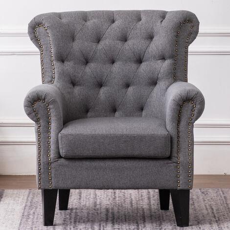Linen Chesterfield Tub Chair Armchair