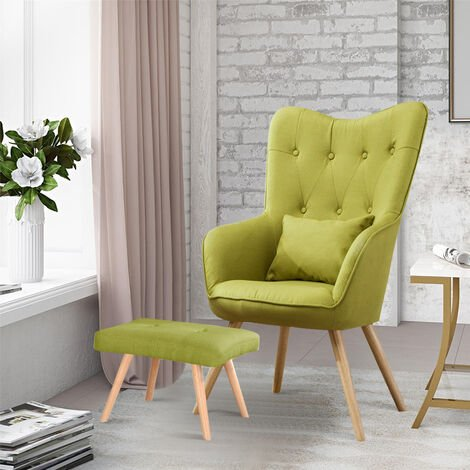 Linen Curved Buttoned Back Single Sofa Armchair with Footstool