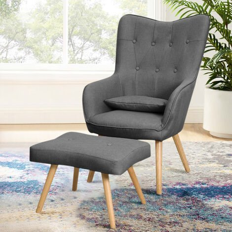 Linen Curved Buttoned Back Single Sofa Armchair with Footstool, Dark Grey
