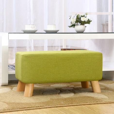 Linen Fabric Footstool Foot Rest Stool Pouffe Ottoman Seat Green