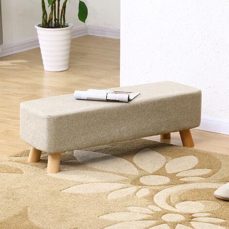 Linen fabric Footstool Low Stool Ottoman Chair Living Room Hallway Pouffe Seat Beige