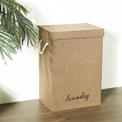 Linen Fabric Laundry Basket Hamper Dirty Clothes Storage Box Organizer with Lids