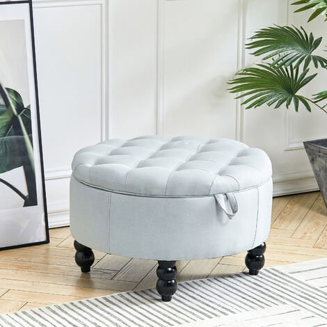 Linen Fabric Storage Ottoman Footstool Chair Round Buttoned Footrest Seat Wood Top End Table