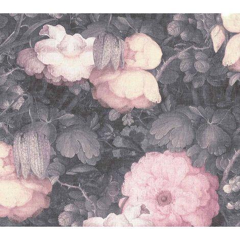 Linen Floral Vinyl Non-Woven Wallpaper Dutch Vintage Retro Pink Grey Textured
