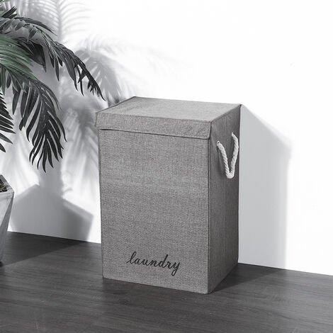 Linen Foldable Laundry Basket Washing Dirty Clothes Hamper Bin Bag Bathroom