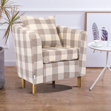 Linen Houndstooth Tub Chair With Cushion