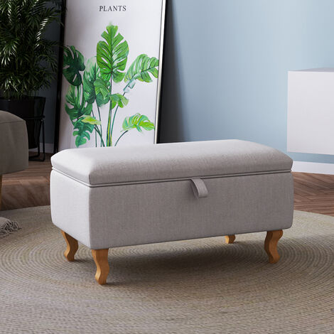 Linen Ottoman Storage Box Pouffe Stool Footstool Foot Rest Chair Bench Light Grey