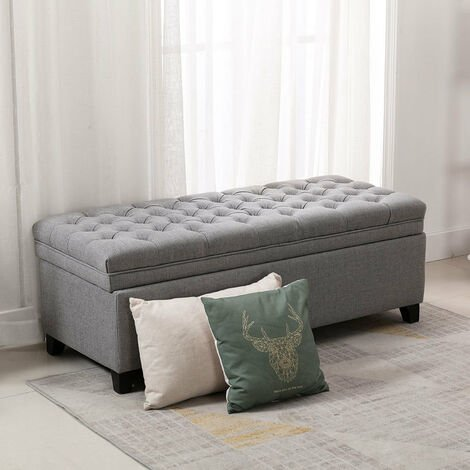 Linen Padded Bed End Bench Ottoman Chesterfield Storage Seat Stool Pouffe Chest Light Grey