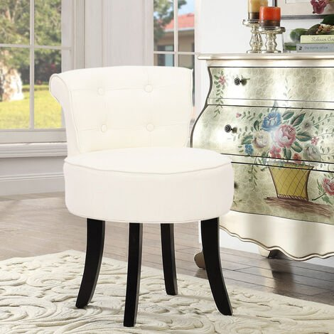 Linen Padded Vanity Stool Small Dining Chair Dressing Table Seat