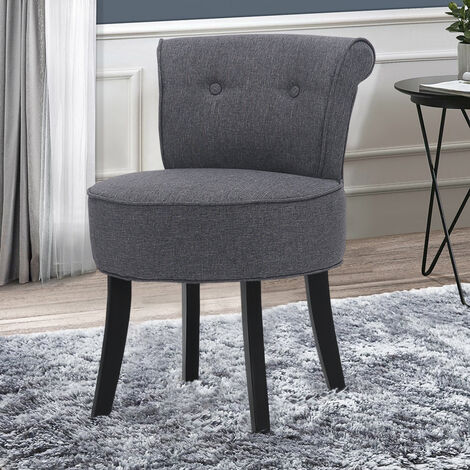 """main image of """"Linen Padded Vanity Stool Small Makeup Chair Dressing Table Seat"""""""
