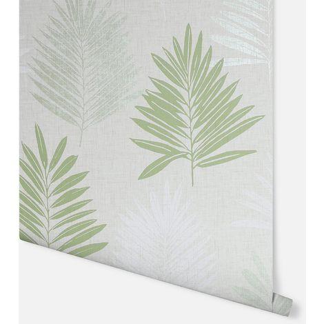 Linen Palm Green Wallpaper - Arthouse - 697801