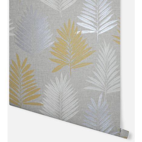 Linen Palm Ochre & Grey Wallpaper - Arthouse - 697800