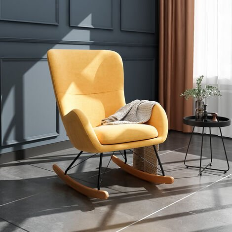 Linen Rocking Chair Armchair With Pocket