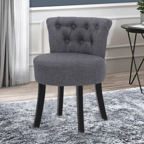 """main image of """"Linen Velvet Makeup Dressing Table Stool Vanity Chair Dining Chairs"""""""