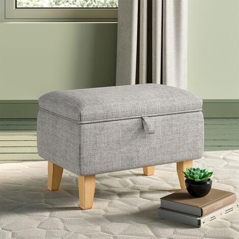 Linen Storage Ottoman Organizer Seat Stool Bench Chest Toy Box Pouffe Footstool