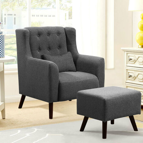Linen Wingback Armchair and Footstool