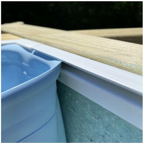 Liner compatible piscine Blooma - Couleur liner: Gris clair - Dimensions piscine: Lunda 4,12 x 1,19 m