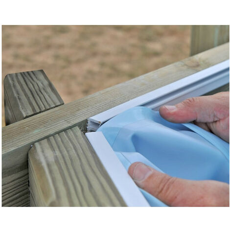 Liner pour piscines en bois Sunbay Choisissez la taille de votre piscine:Liner Bleu 50/100 412x119 Vanille 778689 - Hexagonale