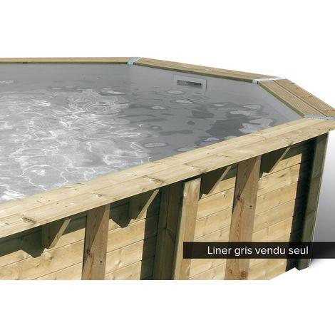 Liner seul pour piscine bois Océa 8,60 x 4,70 x 1,30 m Gris