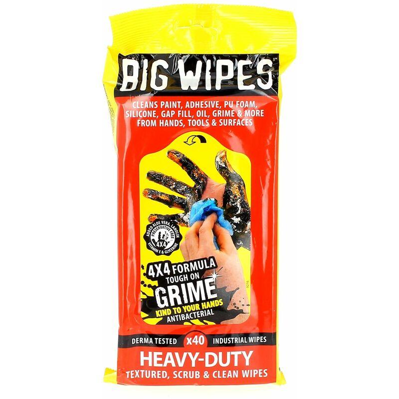 Universel - Lingettes big wipes par 40 pour Meuleuse, Decapeur thermique, Decolleuse, Defonceuse, Etabli, Lime electrique, Outil multifonction,