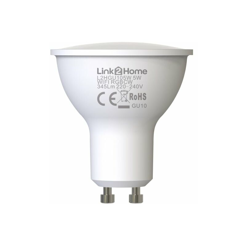 Image of Wi-Fi LED GU10 Dimmable Bulb, White + RGB 345 lm 5W - Link2home
