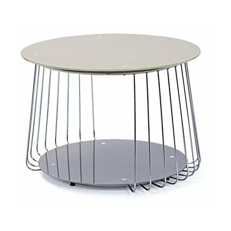 Links 50100170 Riva Table Basse Verre Cappuccino/Gris 70 x 70 x 50 cm