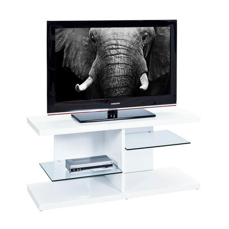 Tavolino Per Tv.Links Tavolino Porta Tv Centum In Mdf Laccato Bianco E Ripiani In Vetro 120x40x52 Interlink