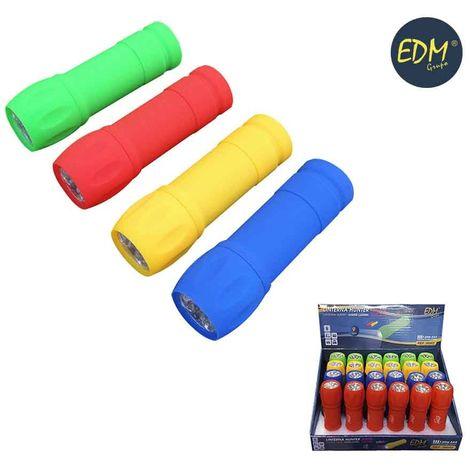 Linterna 9 led rubber edition (pilas incluidas) colores surtidos
