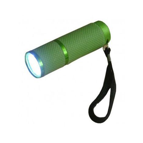 """linterna aluminio de 9 led y cuerpo cuerpo luminiscente verde con pilas lr03 """"aaa"""" 1,5v incluidas"""