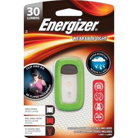 Linterna Energizer Wearable Light clip and go - resistente al agua, 30 lumenes 2CR2032