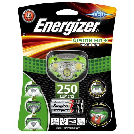 Linterna frontal de cabeza Energizer Headlight LED Vision HD+ 250 lumenes 3AAA Verde