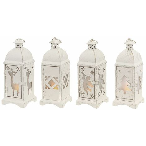 Linterna pequeña linterna de batería Navidad Lámpara de Navidad dentro de la linterna de Navidad en blanco Shabby Chic, 1x estrella 1x abeto 1x reno 1x ángel, 1x LED, An x Al 7 x 19, juego de 4