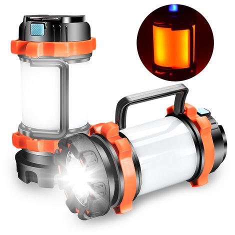 Linterna recargable linterna resistente multifuncional linterna que acampa IPX4 agua con 6 modos de iluminacion para acampar, Naranja
