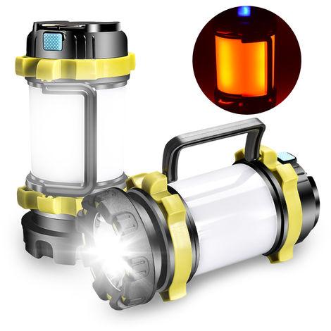 Linterna recargable linterna resistente multifuncional linterna que acampa IPX4 agua con 6 modos de iluminacion, verde